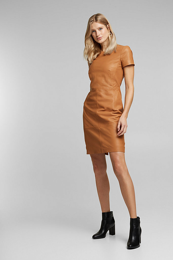 Lamb leather sheath dress
