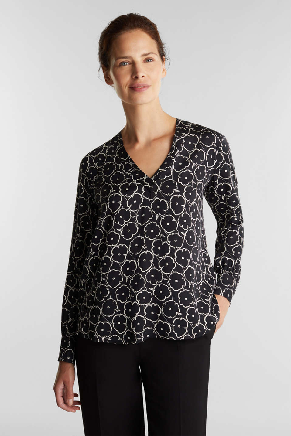 Esprit - Print blouse made of LENZING™ ECOVERO™