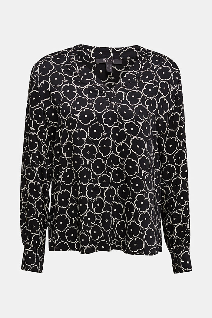 Print blouse made of LENZING™ ECOVERO™, BLACK, detail image number 5