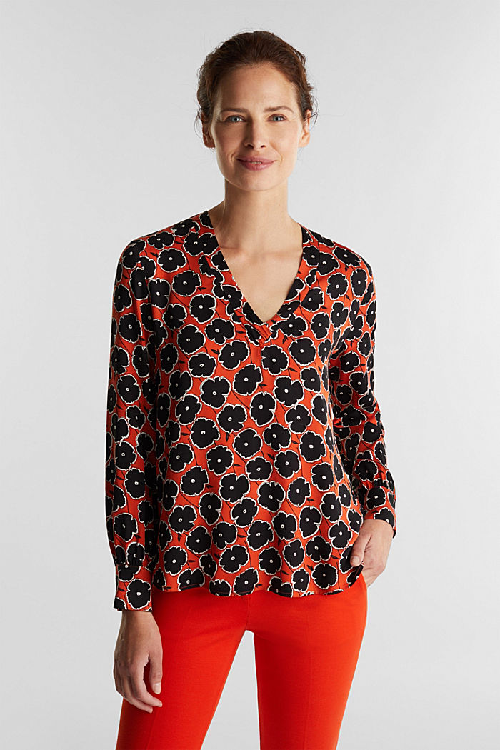 Print blouse made of LENZING™ ECOVERO™, ORANGE, overview
