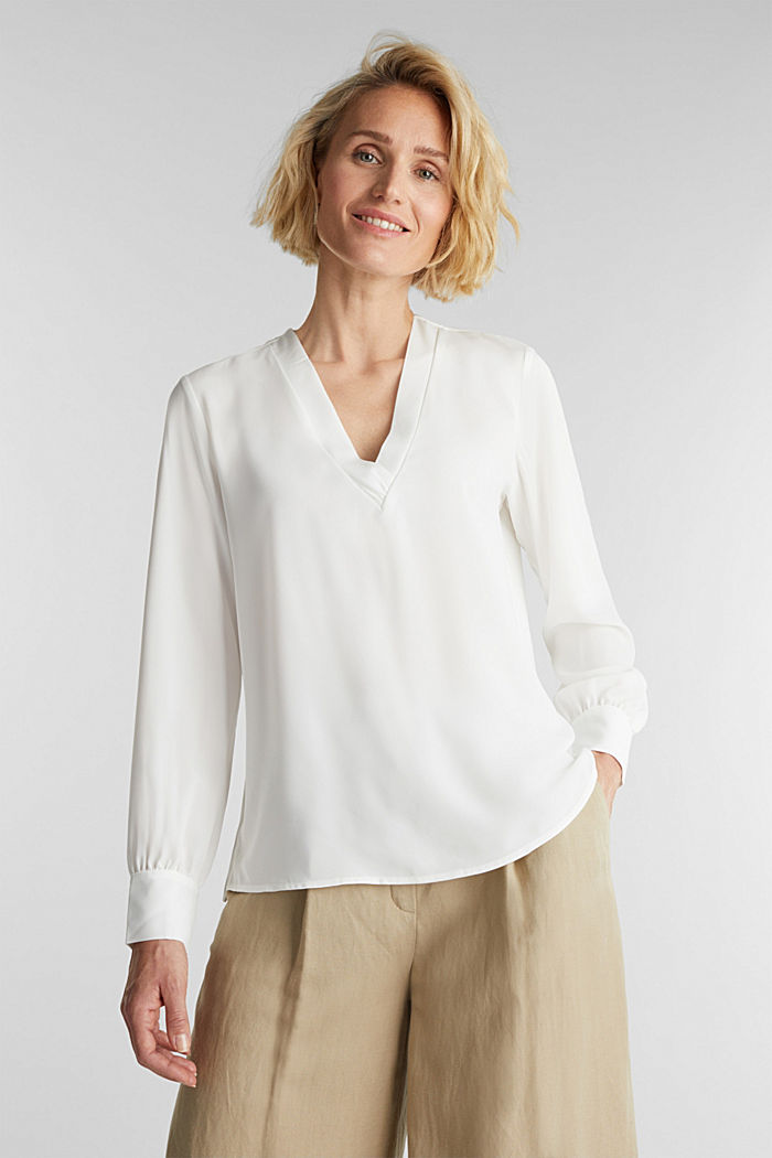 Recycled: V-neck blouse, OFF WHITE, detail image number 0