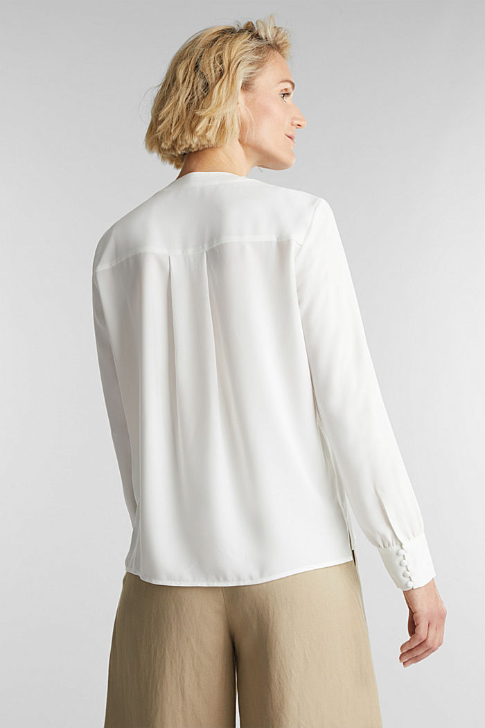 In materiale riciclato: blusa con scollo a V, OFF WHITE, detail image number 3
