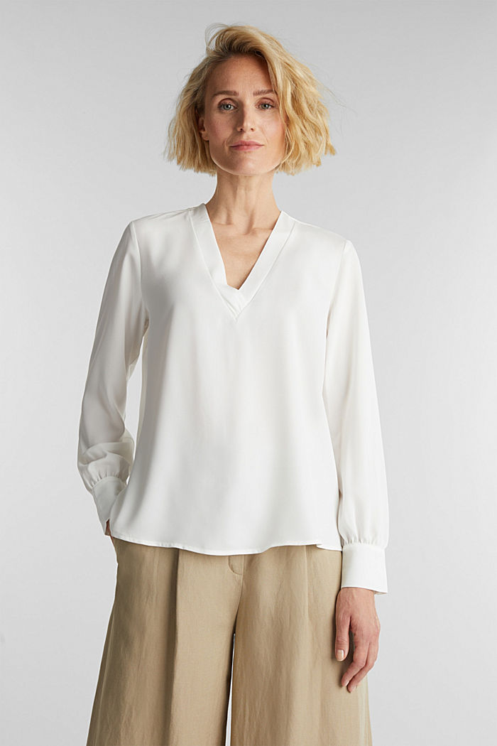 Recycled: V-neck blouse, OFF WHITE, detail image number 5