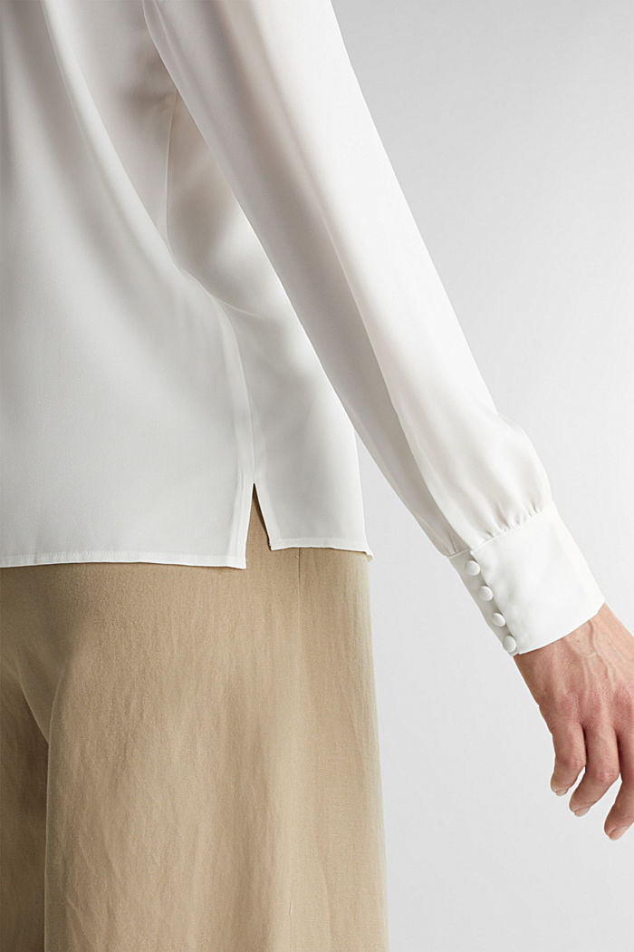 Recycled: V-neck blouse, OFF WHITE, detail image number 2