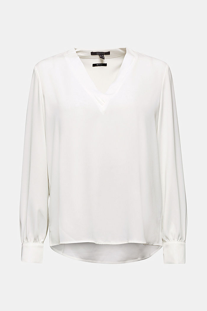 In materiale riciclato: blusa con scollo a V, OFF WHITE, detail image number 7