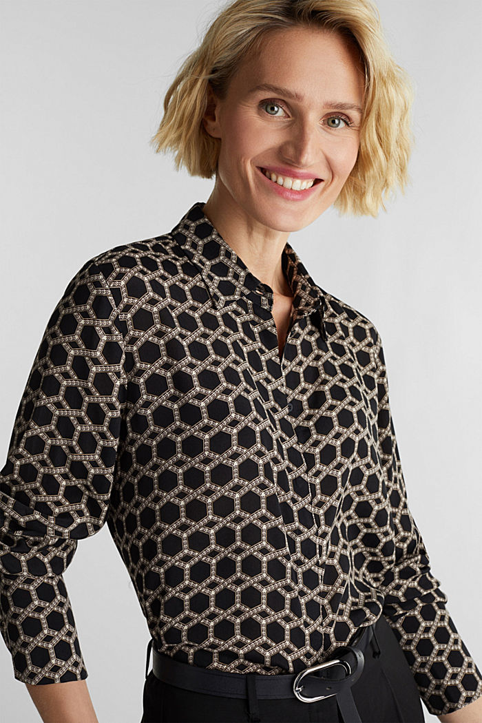 Crêpe blouse with a chain print, BLACK, detail image number 0