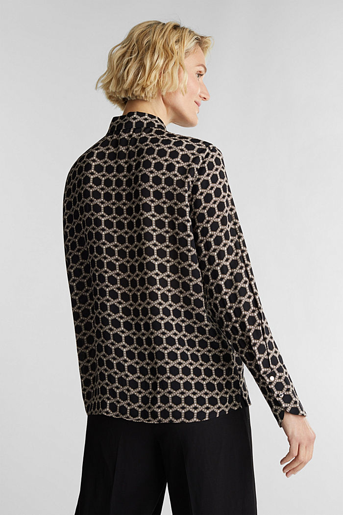 Crêpe blouse with a chain print, BLACK, detail image number 3