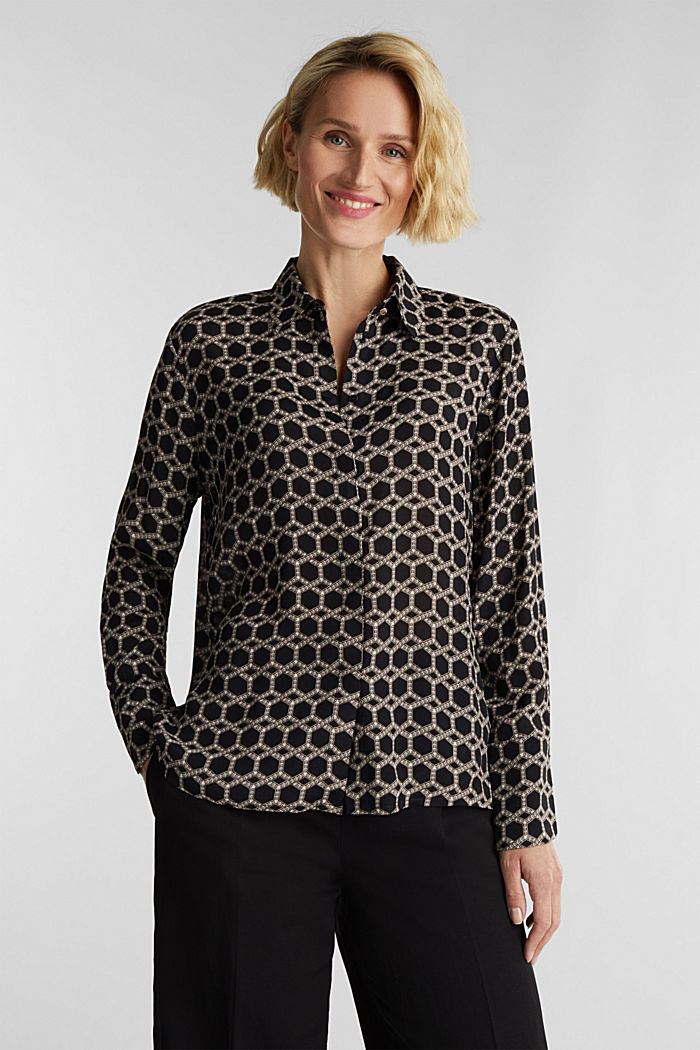 Crêpe blouse with a chain print, BLACK, detail image number 6