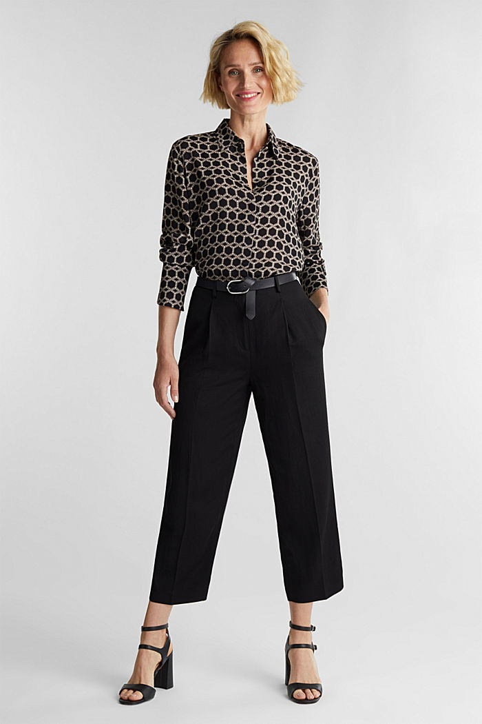 Crêpe blouse with a chain print, BLACK, detail image number 1