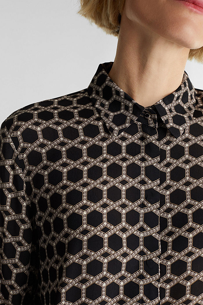 Crêpe blouse with a chain print, BLACK, detail image number 2