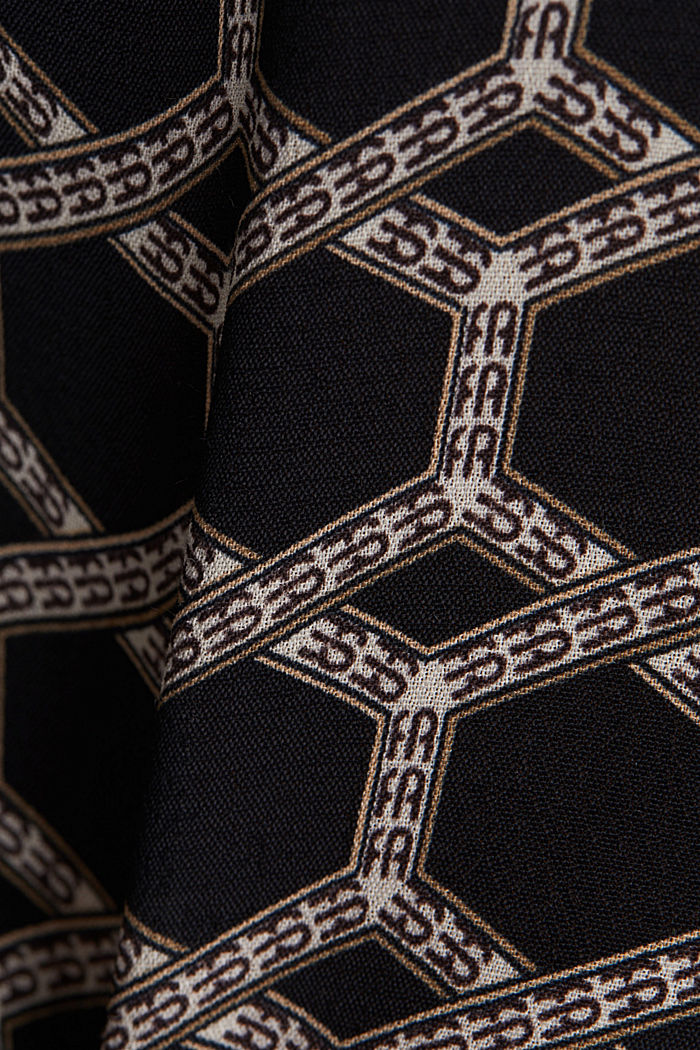 Crêpe blouse with a chain print, BLACK, detail image number 4