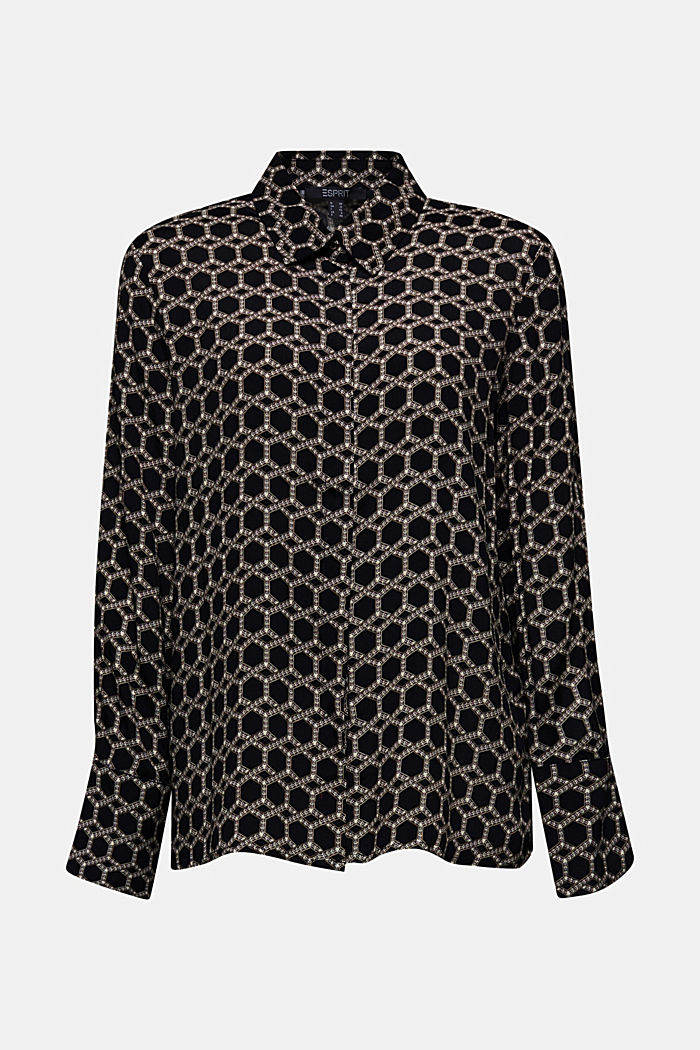 Crêpe blouse with a chain print, BLACK, detail image number 7