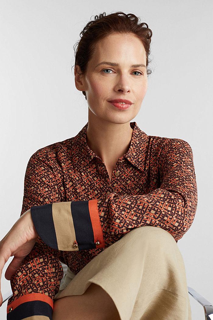 Crêpe blouse with a chain print