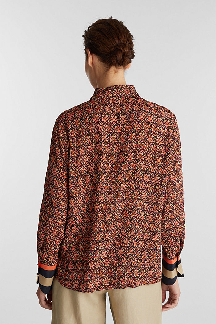 Crêpe blouse with a chain print, CAMEL, detail image number 3