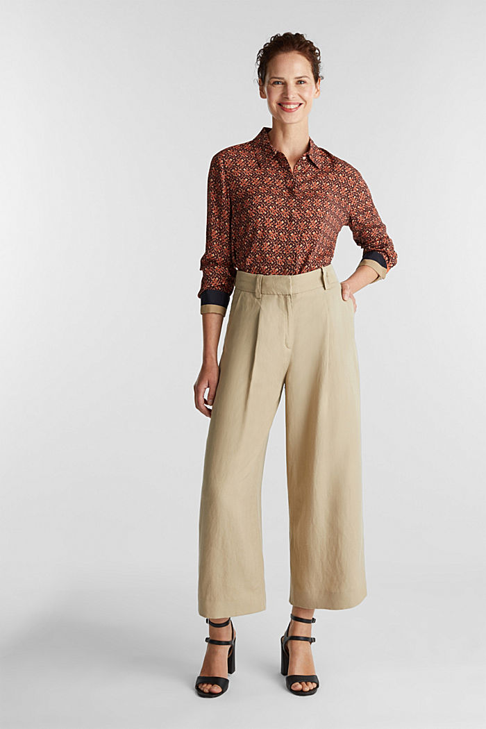 Crêpe blouse with a chain print, CAMEL, detail image number 1