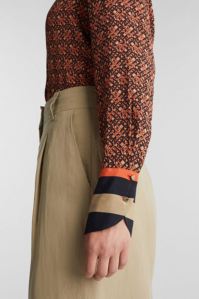 Crêpe blouse with a chain print, CAMEL, detail image number 2