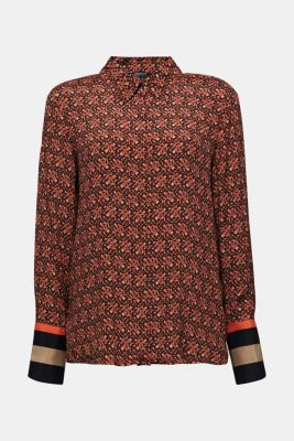 Crêpe blouse with a chain print, CAMEL 4, detail