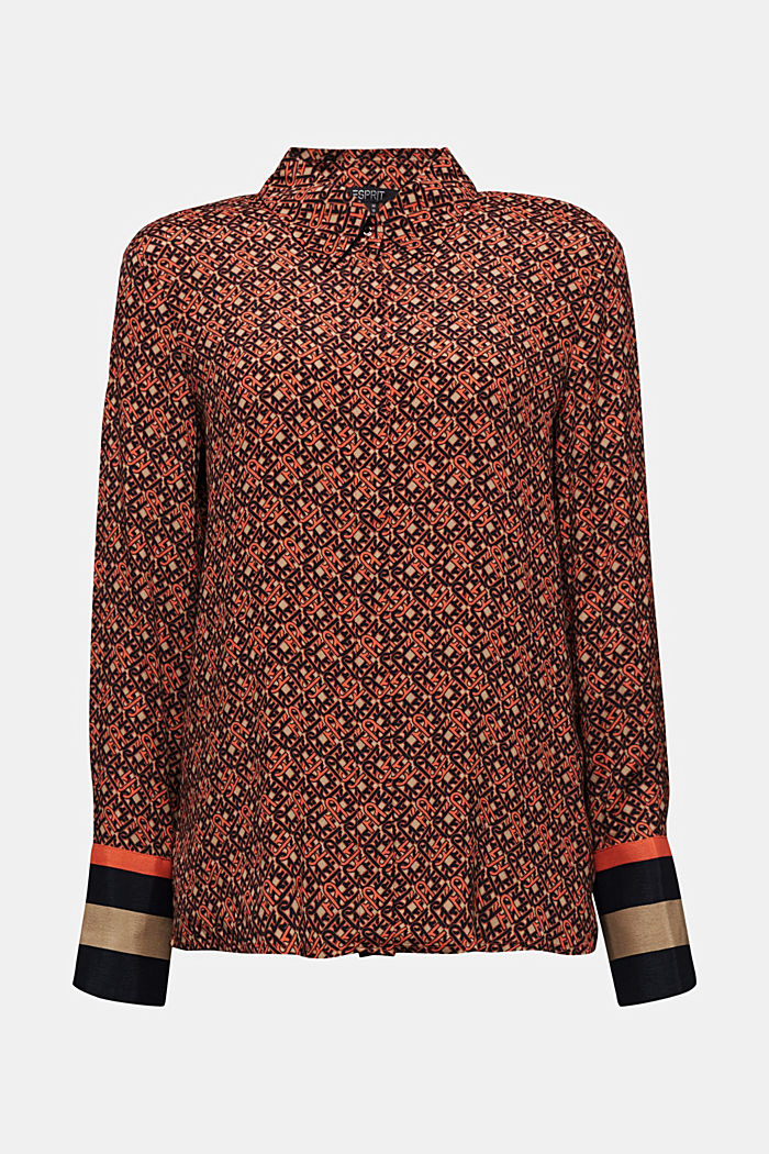 Crêpe blouse with a chain print, CAMEL, detail image number 4