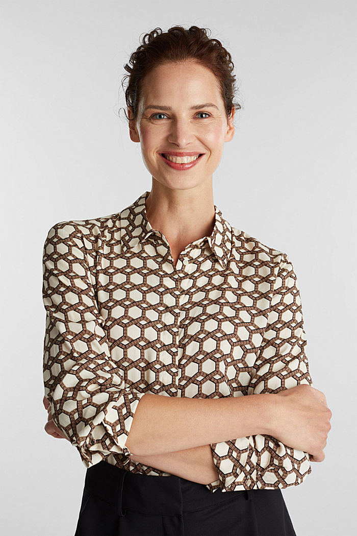 Crêpe blouse with a chain print, SAND, detail image number 0