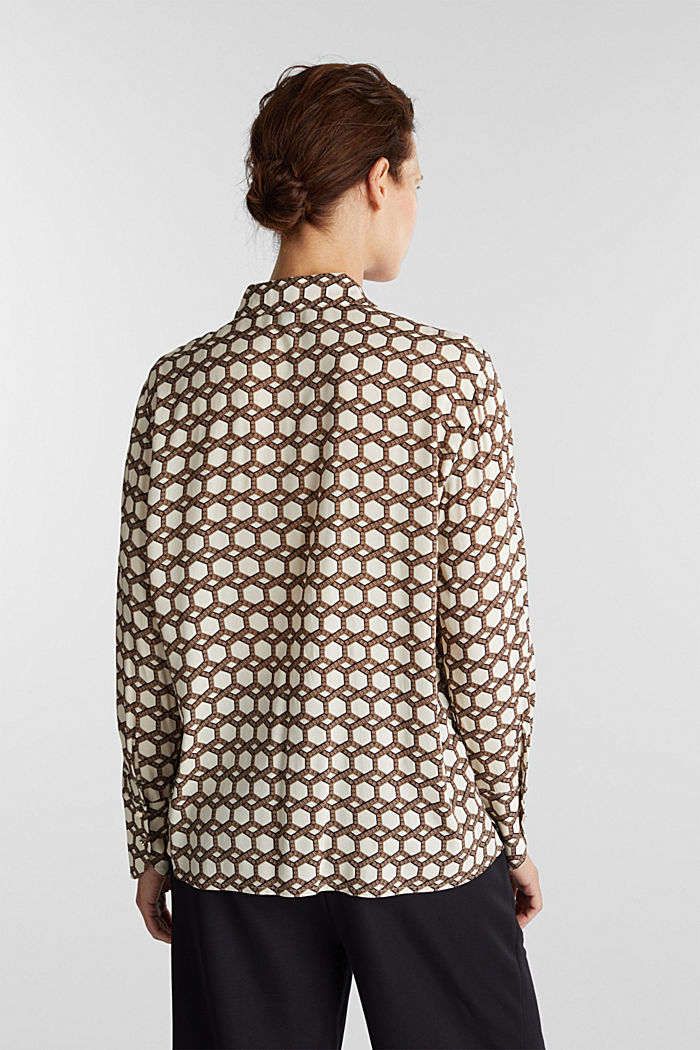 Crêpe blouse with a chain print, SAND, detail image number 3