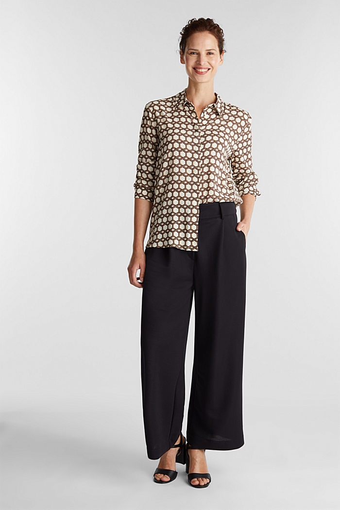 Crêpe blouse with a chain print, SAND, detail image number 1