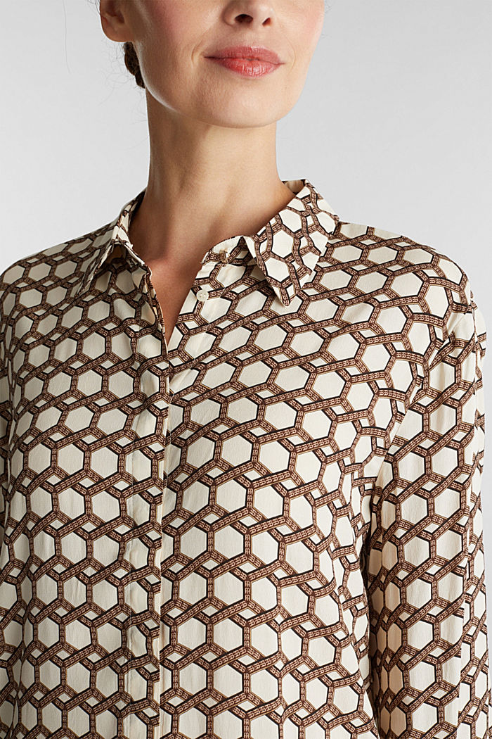 Crêpe blouse with a chain print, SAND, detail image number 2