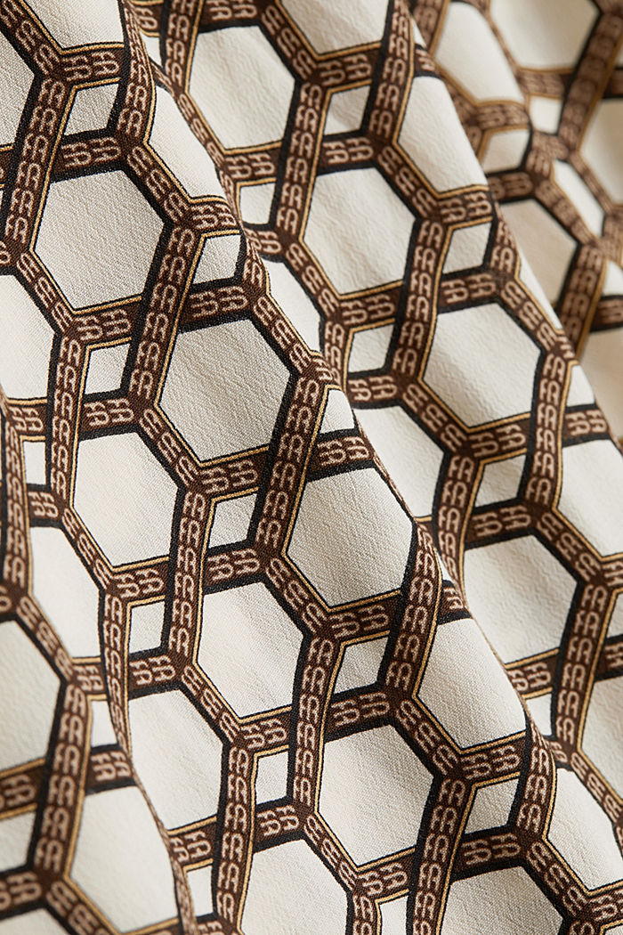 Crêpe blouse with a chain print, SAND, detail image number 4