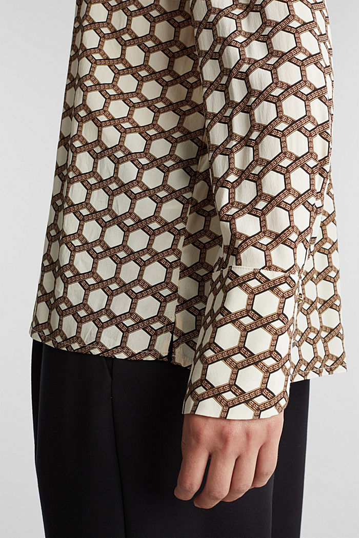 Crêpe blouse with a chain print, SAND, detail image number 5