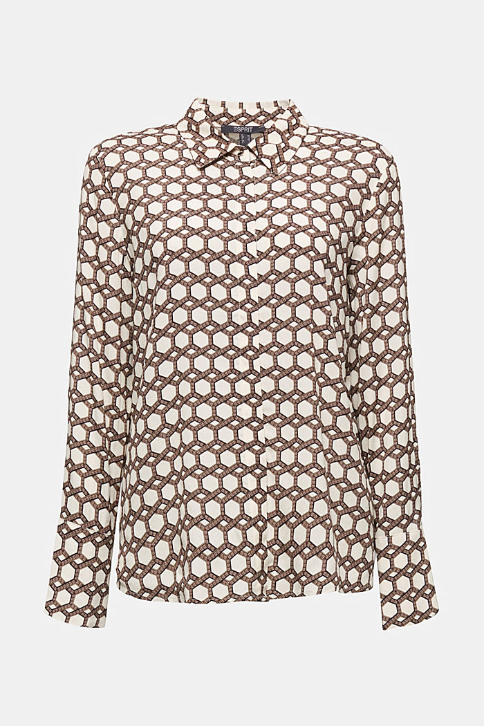 Crêpe blouse with a chain print, SAND, detail image number 7