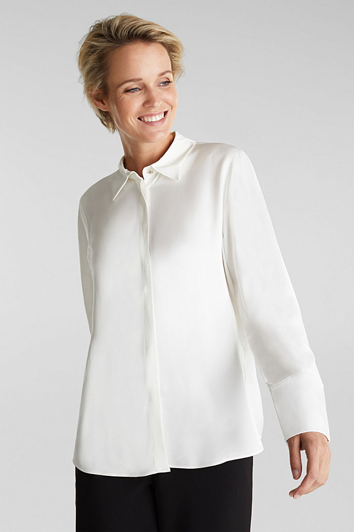 Satin blouse made of LENZING™ ECOVERO™, OFF WHITE, detail image number 0