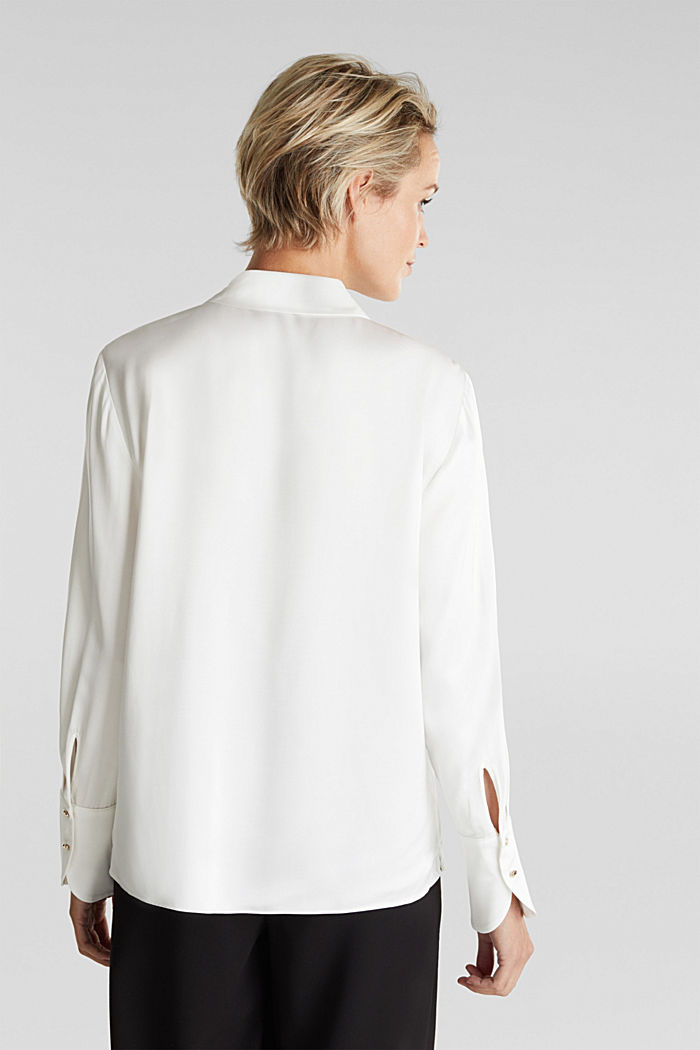Satin blouse made of LENZING™ ECOVERO™, OFF WHITE, detail image number 3