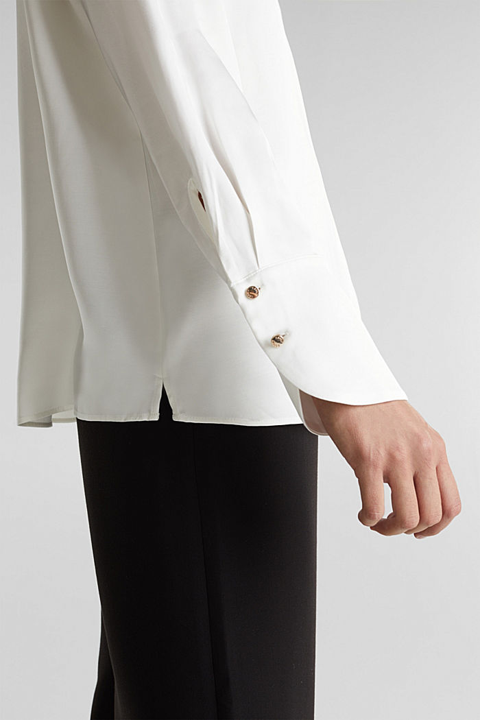 Satin blouse made of LENZING™ ECOVERO™, OFF WHITE, detail image number 2