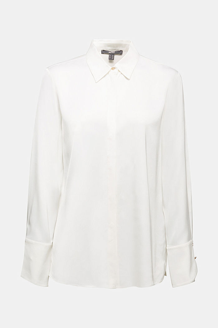 Satin blouse made of LENZING™ ECOVERO™, OFF WHITE, detail image number 6