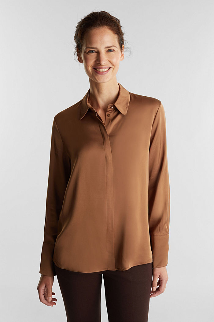 Satin blouse made of LENZING™ ECOVERO™, CAMEL, detail image number 0