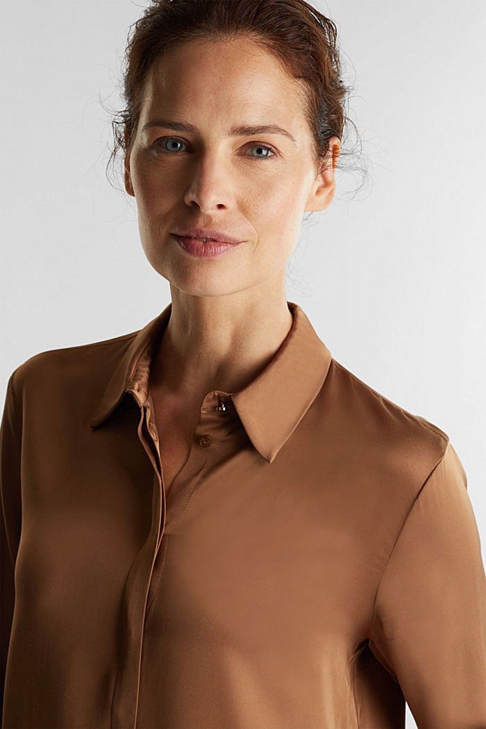 Satin blouse made of LENZING™ ECOVERO™, CAMEL, detail image number 5