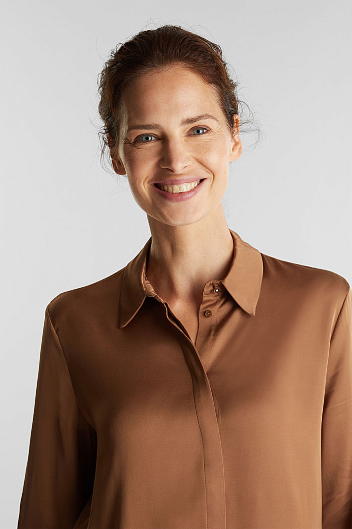 Satin blouse made of LENZING™ ECOVERO™, CAMEL, detail image number 6