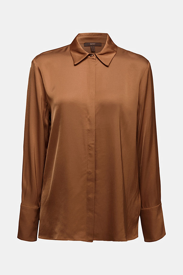 Satin blouse made of LENZING™ ECOVERO™, CAMEL, detail image number 7