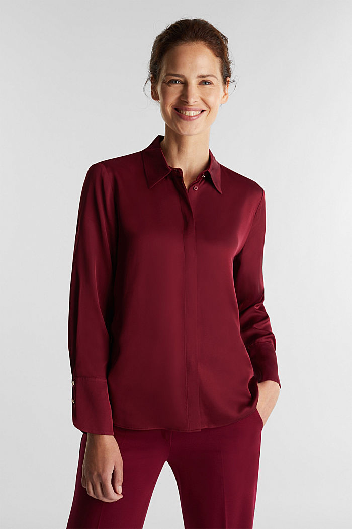 Satin blouse made of LENZING™ ECOVERO™, BORDEAUX RED, detail image number 0