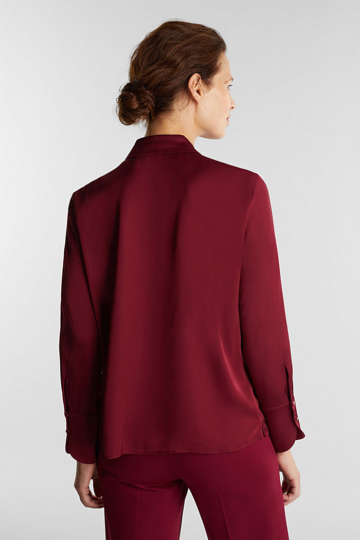 Satin blouse made of LENZING™ ECOVERO™, BORDEAUX RED, detail image number 3
