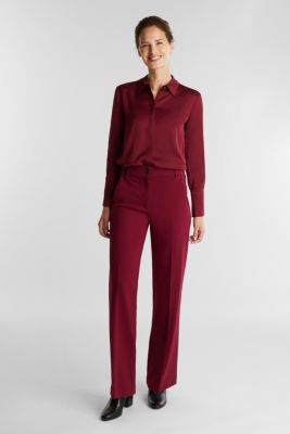 Satin blouse made of LENZING™ ECOVERO™, BORDEAUX RED, detail