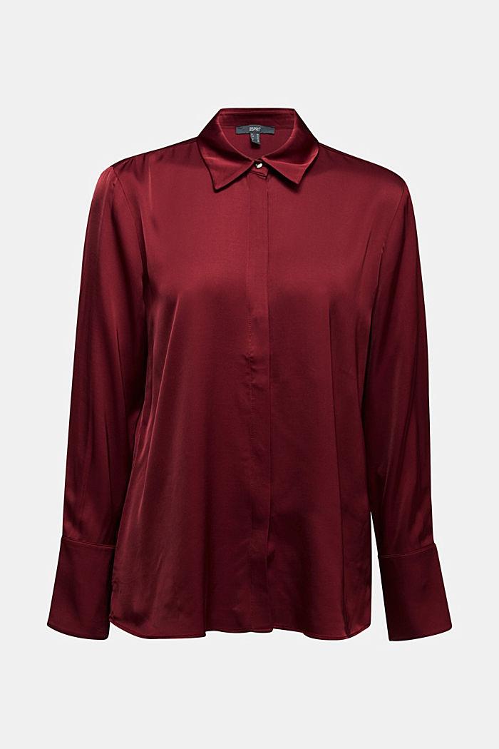 Satin blouse made of LENZING™ ECOVERO™, BORDEAUX RED, detail image number 6
