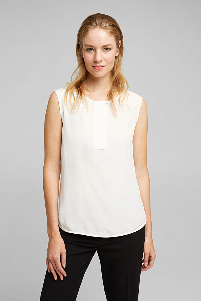 Blouse top made of LENZING™ ECOVERO™, OFF WHITE, detail image number 0