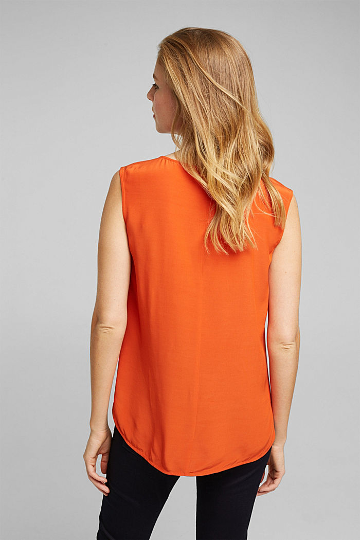 Blouse top made of LENZING™ ECOVERO™, RUST ORANGE, detail image number 3