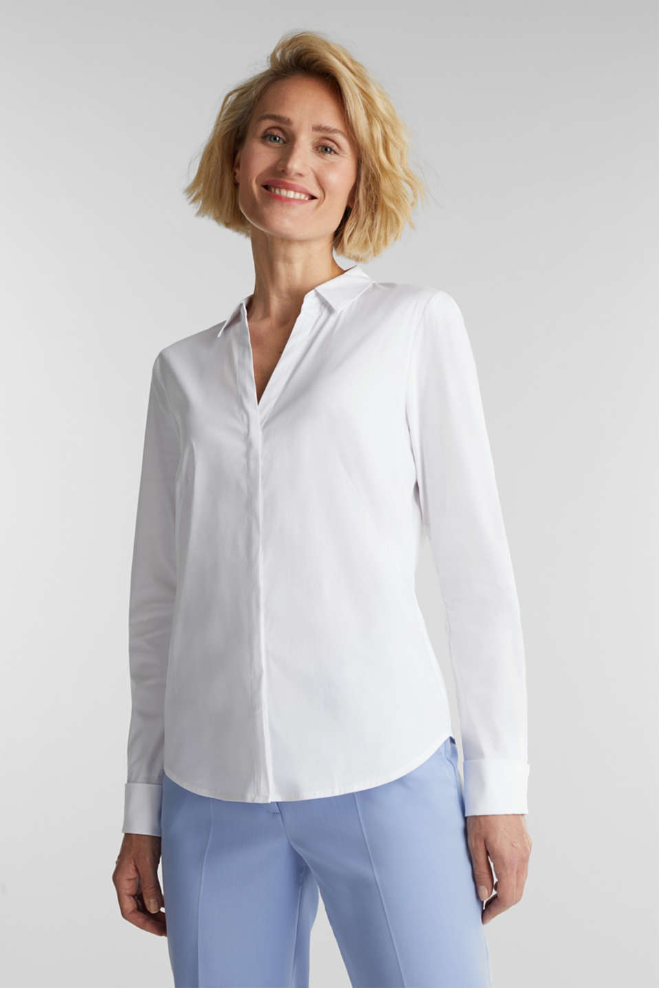 Esprit - Chemisier en coton stretch