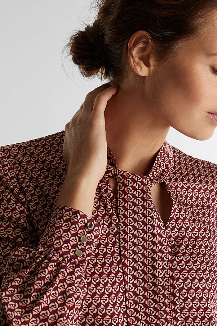 Print blouse with LENZING™ ECOVERO™, GARNET RED, detail image number 2