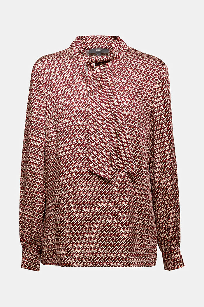 Print blouse with LENZING™ ECOVERO™, GARNET RED, detail image number 6