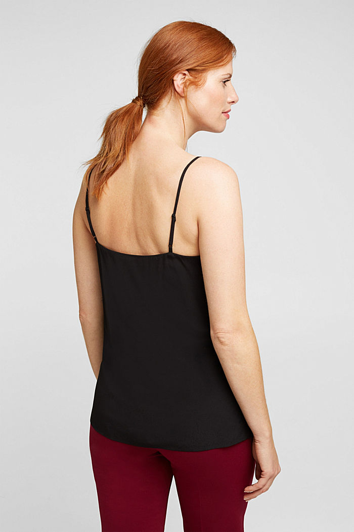 Spaghetti strap top with lace, BLACK, detail image number 3