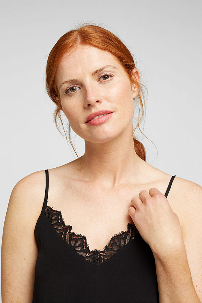 Spaghetti strap top with lace, BLACK, detail image number 6