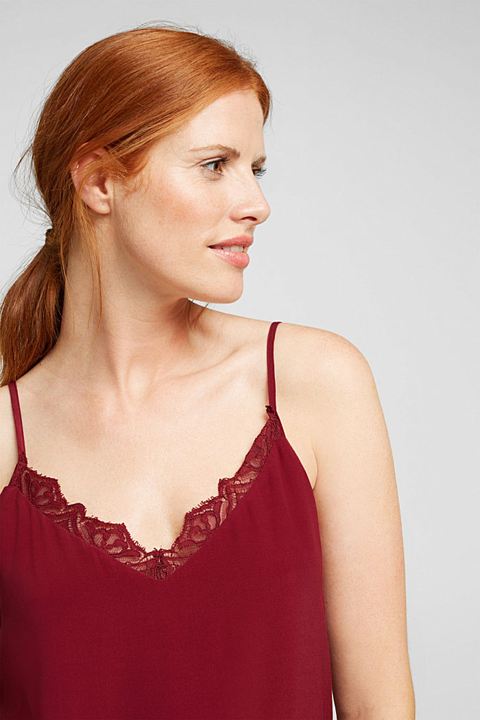 Spaghetti strap top with lace, BORDEAUX RED, overview
