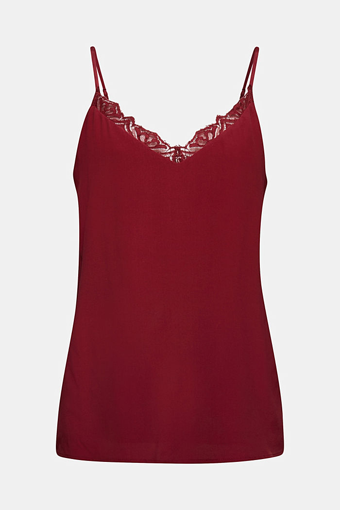 Spaghetti strap top with lace, BORDEAUX RED, detail image number 6
